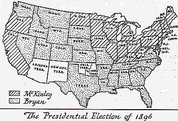 Election Of - 1896 map of us